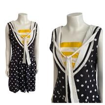 1990s Sleeveless Sailor Romper / 90s Polka Dot Cotton Shorts Jumpsuit M/L - $66.75
