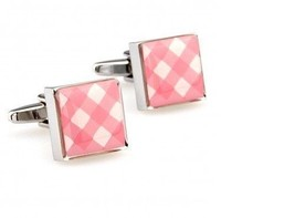 Frederick Thomas pink and white check design cufflinks FT2822