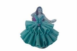 Dresden Antique Porcelain Figurine vtg Germany Victorian Lace mirror gir... - $79.15
