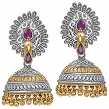 Aheli Antique Oxidized Paisley Design Crafted Jhumki Earrings Ethnic (Pink) - $25.41