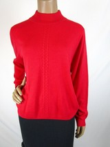 Allison Daley Vintage Mock Sweater Size Petite M Red Acrylic Super Soft - $18.05