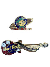 Vintage Lot of 2 Collectible Pins Las Vegas Hard Rock Cafe Hollywood Save Planet - $14.84