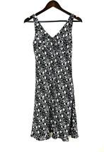 Express Dress Size 5/6 Black White V Neck Floral Sun Dress Casual (AAP) - $21.76