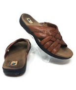 Michel M Cariboo Brown Leather Woven Open Toe Slip On Sandals Womens 8M - $17.77