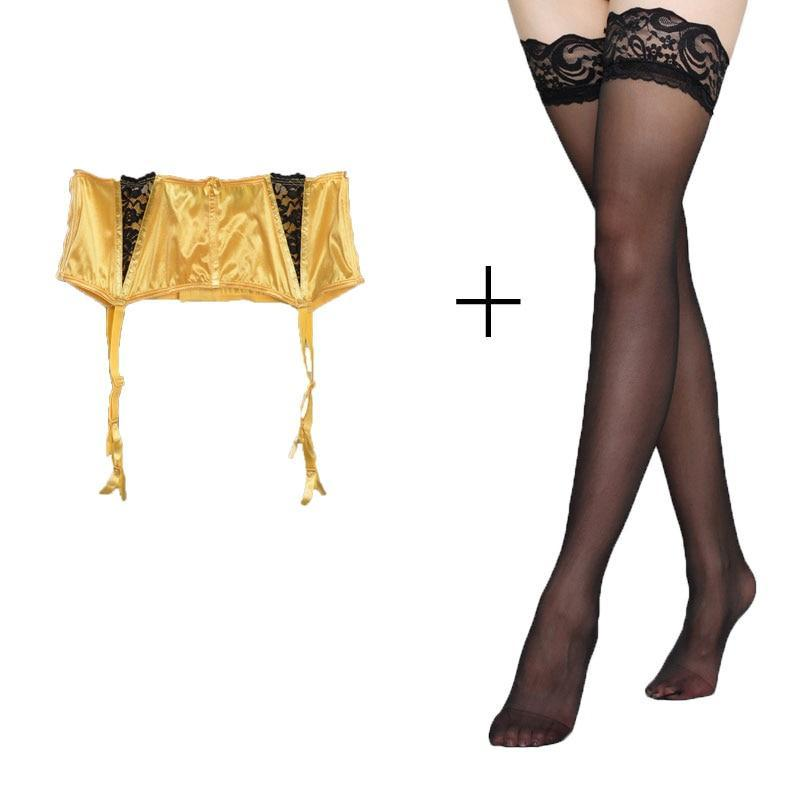 Primary image for Women Sexy Garters Lace Yellow Fishbone Garter Belts with Black stockings set fo