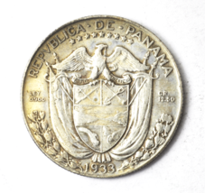 1933 Panama 1/2 Half Balboa KM# 12.1 Silver Coin Rare Only 120,000 Minted image 1