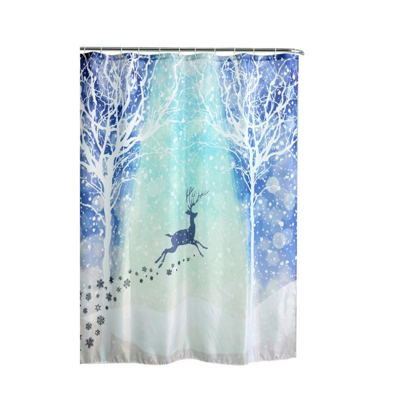 2017 Hot Selling Christmas KidsWaterproof Polyester Bathroom Shower CurtaiN With