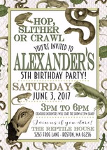 Reptile Birthday Invitation Frog, Snake, Lizard Personalized Custom ANY AGE - $12.00