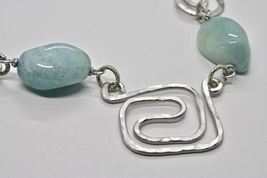 Necklace the Aluminium Long 50 Inch with Aquamarine Blue Blue image 5