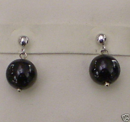 White Gold Earrings 750 18KT with Onyx Black Round