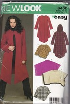 New Look Sewing Pattern 6432 Misses Shawl, Poncho and Hooded Overcoat UC XS-XL - $8.86