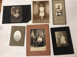 6 Old Pictures. Black and White Antique Vintage Portraits - $27.91