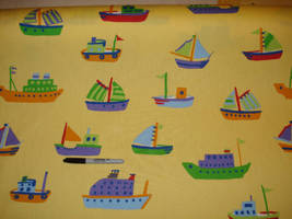 Yellow Tugboats Ships Blue Green Red Orange Cotton Fabric - $6.79