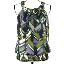 Byline Womens Blouse XL Green Purple Black Sleeveless Blouson Top Career... - $14.99