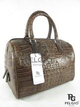 PELGIO Real Genuine Crocodile Alligator Skin Leather Handbag Satchel Purse Brown - $520.38