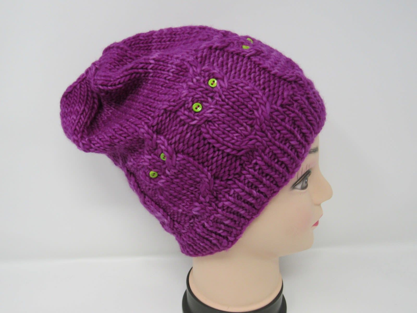 Handcrafted Knitted Hat Beanie Violet Owls Buttons 100% Merino Wool Female Adult
