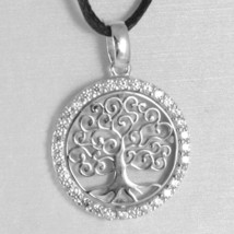 18K WHITE GOLD TREE OF LIFE PENDANT, 0.75 INCHES, ZIRCONIA, MADE IN ITALY  image 2