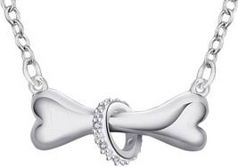 SENFAI Silver Dog Bone with Crystal Ring Necklace Puppy Pet Bone Pendant... - $31.31