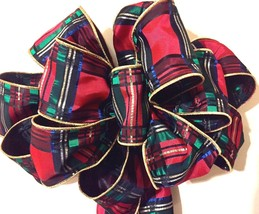 HUGE BEAUTIFUL CHRISTMAS PLAID RED GOLD GREEN TREE TOPPER BOW  QUALITY  ... - $33.60