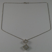 .925 SILVER RHODIUM NECKLACE WITH TWO RHOMBUS WITH ZIRCONIA AND VENETIAN MESH image 2