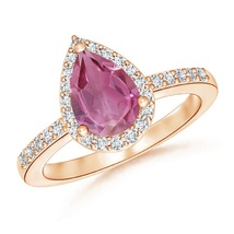 Pear Cut Pink Tourmaline & CZ Diamond 14K Rose Gold Fn Engagement Halo Ring - $87.99