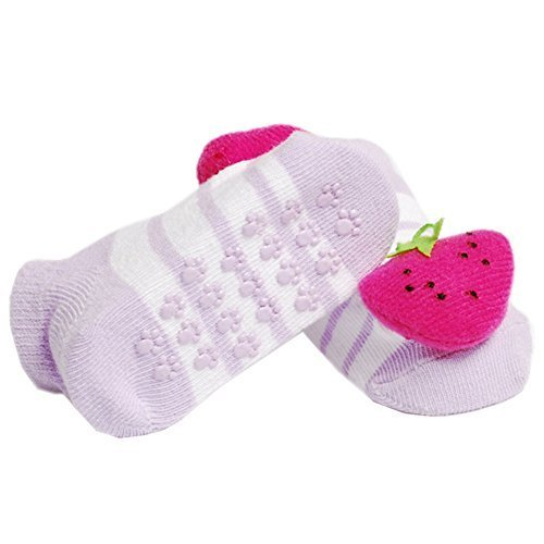 2 Pairs Baby Socks Cotton Anti-skidding Infant Socks 0-12 Months(Strawberry)