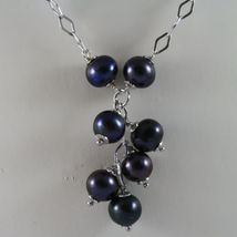 .925 SILVER RHODIUM NECKLACE WITH FRESHWATER GRAY PEARLS AND RHOMBUS MESH image 3