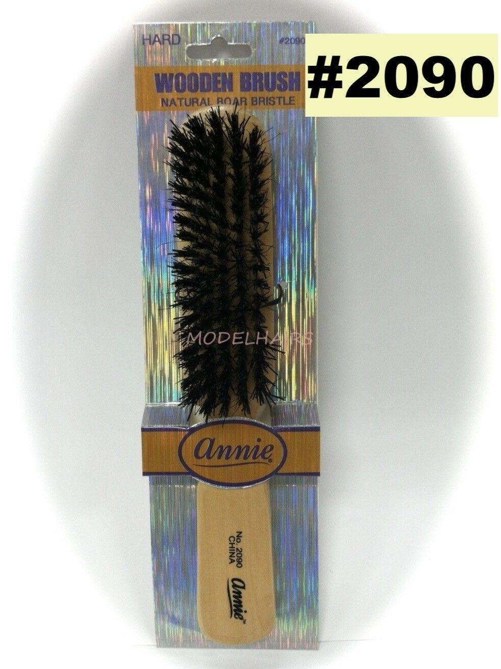 ANNIE WOODEN BRUSH NATURAL BOAR BRISTLE  #2090- HARD - $1.97