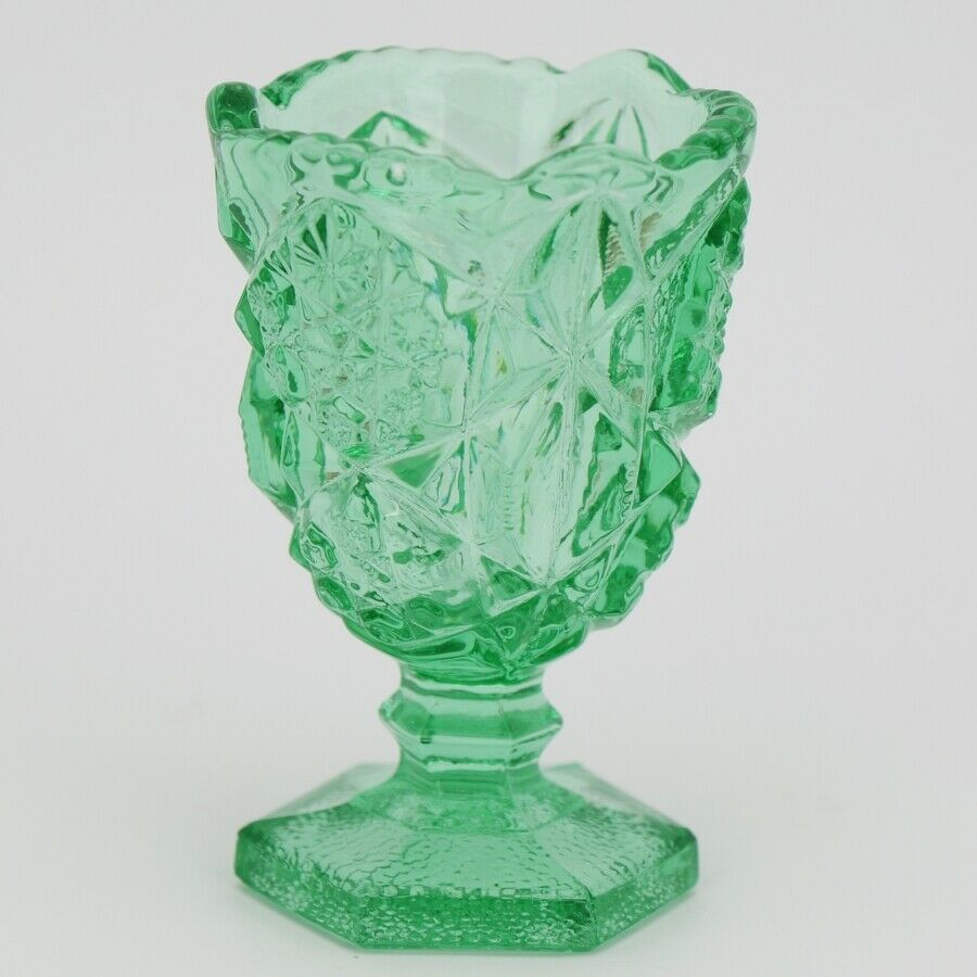 Vintage Glass Toothpick Holder Kemple Press Cut Green