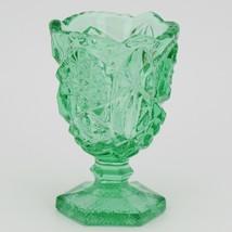 Vintage Glass Toothpick Holder Kemple Press Cut Green image 1