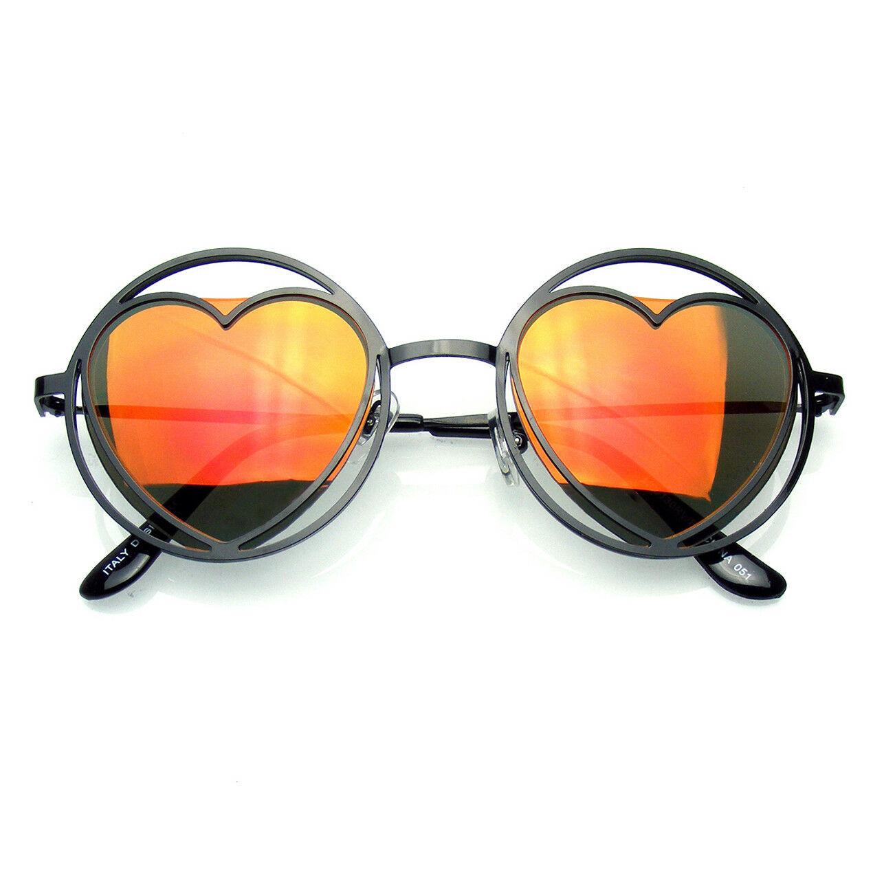 Damen Runde Metall Herzförmig Hippie Kreis Sonnenbrille