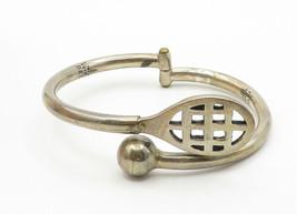 MEXICO 925 Silver - Vintage Tennis Ball & Racket Design Cuff Bracelet - B6218 image 2