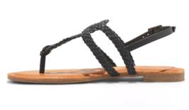 NEW Women's Universal Thread Black Jana Braided Quarter Strap Flat Sandals Wide image 2