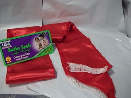 "Sash Satin Red with White Fringe 5"" x 80"" Belt or Costume - $8.35"