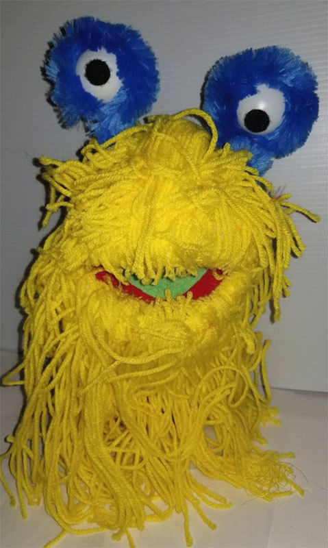 """F3 * Professional Yellow """"Yarn Monster"""" Muppet Style Ventriloquist Puppet"""
