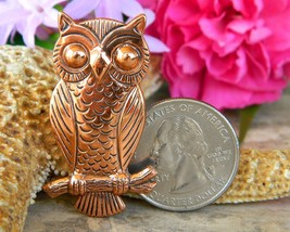 Vintage Solid Copper Owl Tree Branch Brooch Pin Bell Trading Post USA image 2