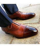 Brown Brogue Pointed Cap Toe Oxford Handmade Genuine Leather Stylish Men Shoes - $119.99 - $159.99