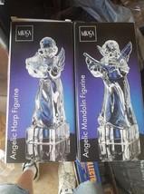 Lot 3 Mikasa Herald Collection Crystal Angel Figurine Harp Violin Mandolin NEW - $74.20