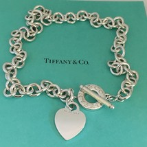 """Tiffany & Co Sterling Silver Blank Heart Tag Toggle Necklace 19"""" - $349.00"""