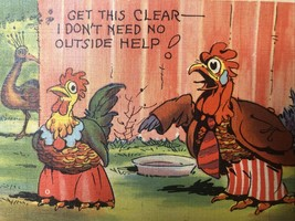 Curt Teich CT FArm Comics  1938 Linen - Anthropomorphic Roosters - $23.53