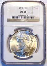 1922 NGC Peace Silver Dollar. MS63. MG17. - $61.00
