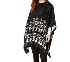DUBGEE By Whoopi Fairisle Poncho CAPE BLACK WHITE NWT MSRP $98  - $24.99