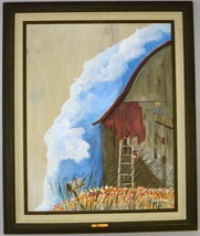 "Vintage Quaint Oil On Wood Barn Painting Signed Framed Unfinished 29"" x 35"" - $19.79"