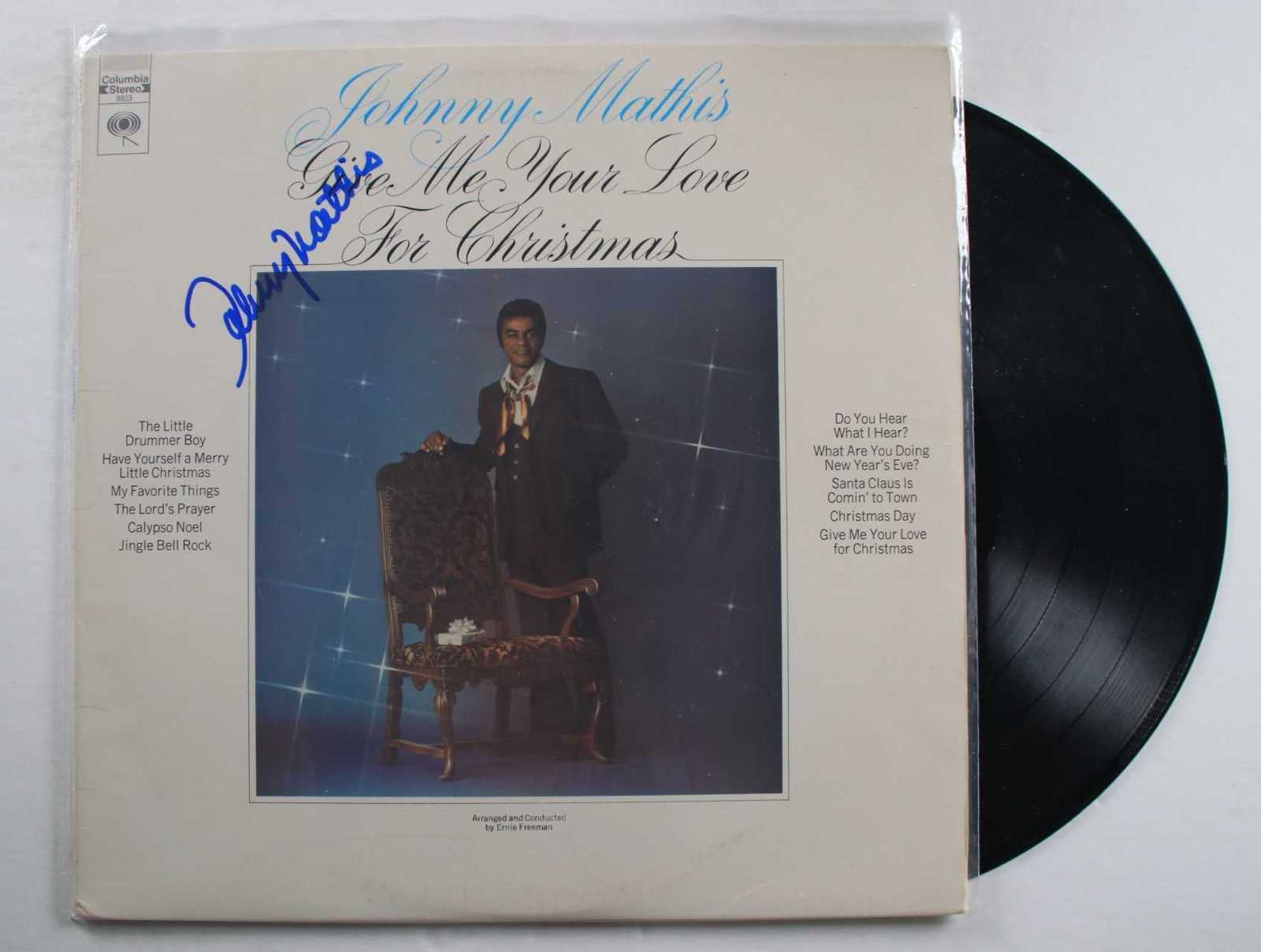 "Primary image for Johnny Mathis Signed Autographed ""Give Me Your Love For Christmas"" Record Album"
