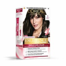L'Oreal Paris Excellence Creme Hair Color, 3 Natural Darkest Brown, 72ml+100g - $24.61
