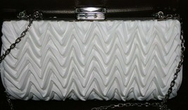 $1195 NWD Judith Leiber Ruffled Crystal Closure White Satin Crossbody Cl... - $157.40 CAD