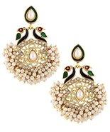 The Jewelbox Women's Peacock Mayur Meenakari Pearl Gold Plated Chaand Ba... - $10.49