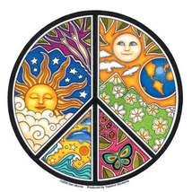 Small Mosaic Peace Sign Vinyl  Sticker Deadhead  Car Decal  - $3.29