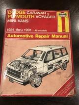 Haynes Repair Manual 30010 1231 Dodge Caravan Plymouth Voyager 1984 Thru 1995 - $7.00