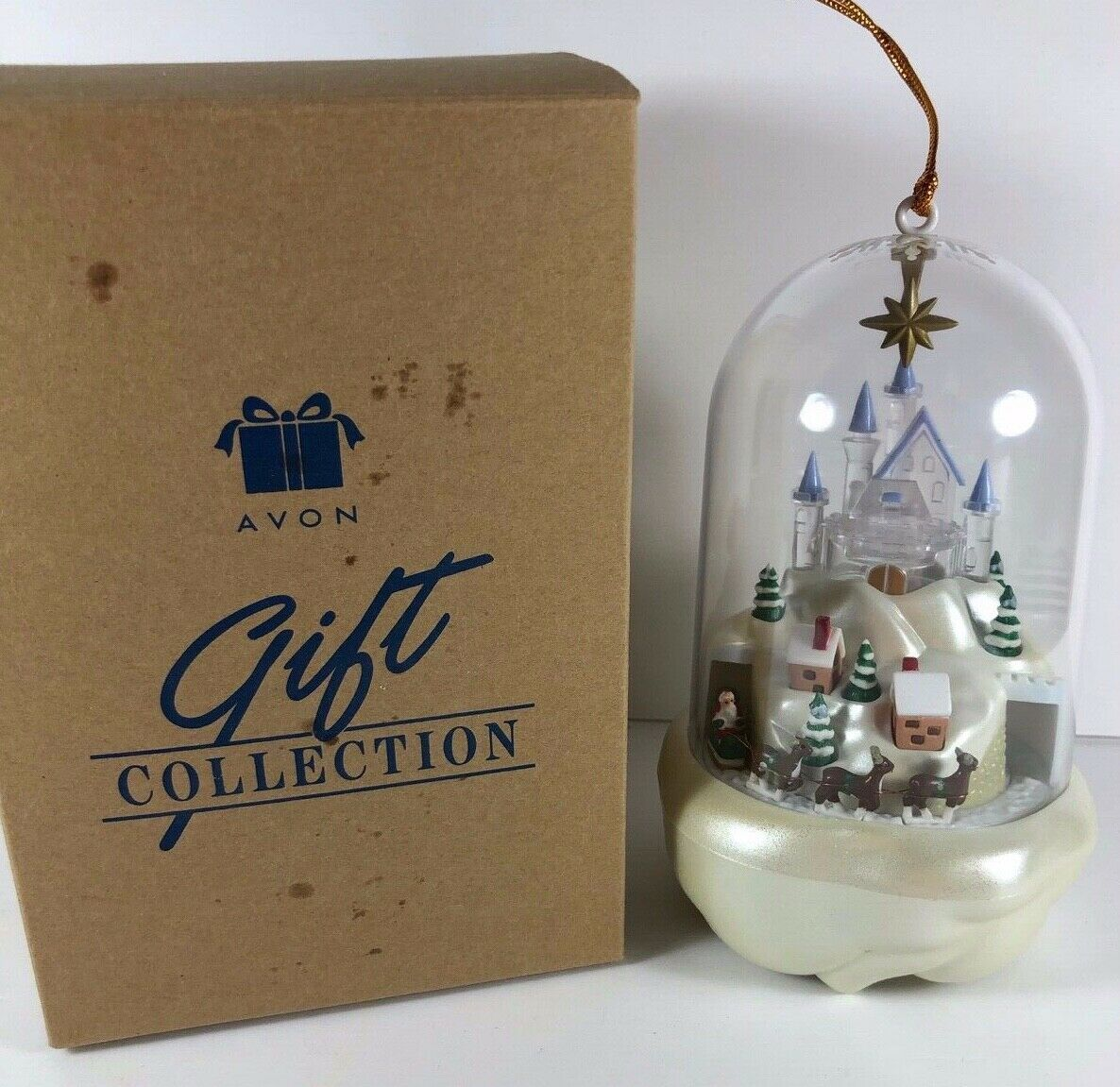 Vintage Avon Santa's Magical Castle Christmas Tree Ornament Light Motion Music